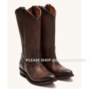 NIB Frye Smoke Brown Leather Pull On Cowboy Boots